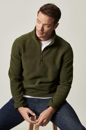 AC&Co / Altınyıldız Classics Erkek Haki Standart Fit Günlük Rahat Fermuarlı Bato Yaka Spor Polar Sweatshirt