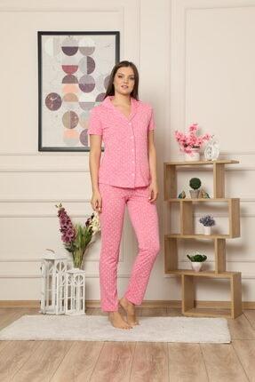 Çekmece Kadın Pembe Düğmeli Puantiyeli Kısa Kol Pamuklu Pijama Takım