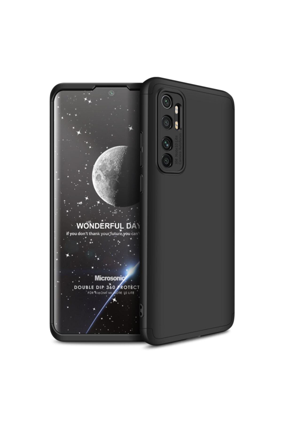 Xiaomi Microsonic Mi Note 10 Lite Kılıf Double Dip 360 Protective Siyah 1