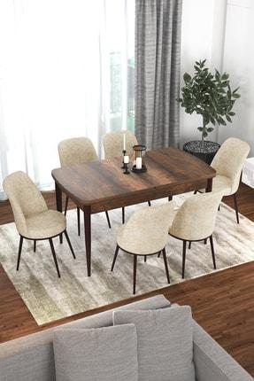Canisa Concept Via Serisi Barok Açılabilir Mutfak Masası Takımı-yemek Masası Takımı-masa+6 Adet Krem Sandalye