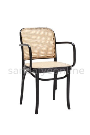 Sandalye Online Lina Hazeranlı Sandalye Siyah Kolçaklı