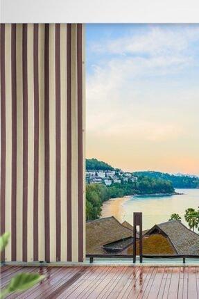 ALTINPAMUK Her Ölçüde Enxboy Seçenekli Kuşgözlü Balkon Perdesi Balkon Brandası Kahve Krem-