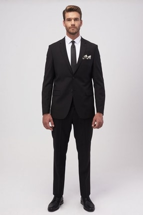 ALTINYILDIZ CLASSICS Slim Fit Dar Kesim Düz Siyah 8 Drop Su Geçirmez Nano Takım Elbise