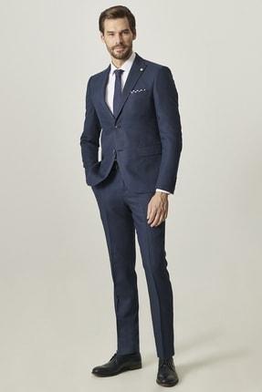 ALTINYILDIZ CLASSICS Ekstra Slim Fit Dar Kesim Desenli Lacivert Su Geçirmez Spor Nano Takım Elbise