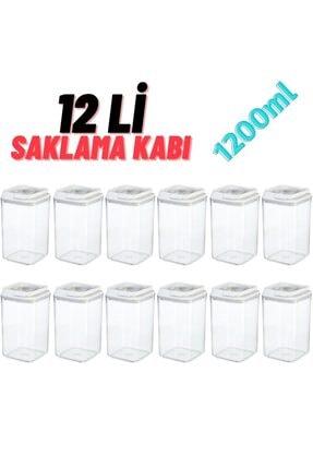 MYBOX 12 Li Çok Kullanışlı Saklama Kabı 1200ml X12 Adet Beyaz (özel Kapak) , Erzak Kabı