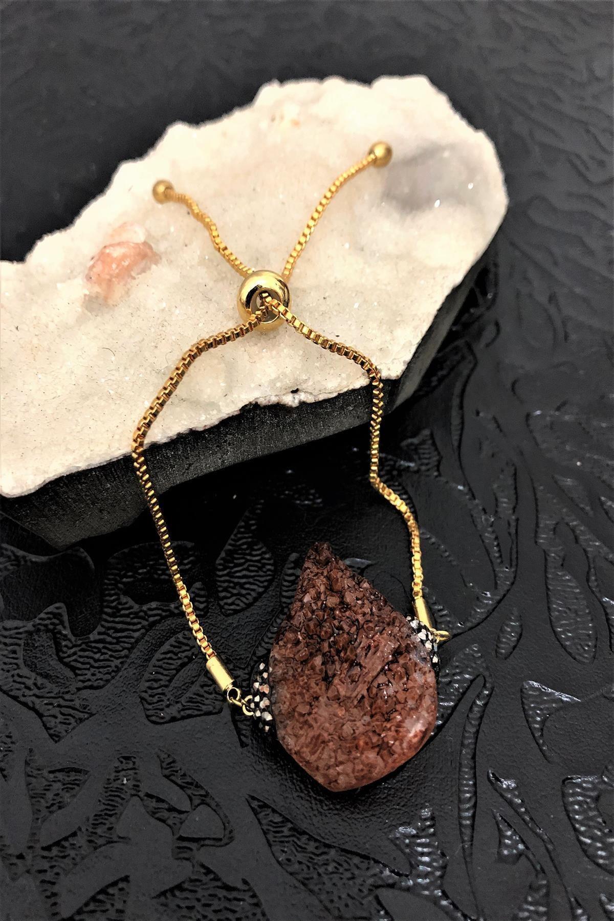 Dr. Stone Dr Stone Golden Kuvars Taşı 22k Altın Kaplama El Yapımı Kadın Bileklik Tkrb29 1