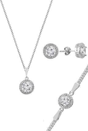 Söğütlü Silver Gümüş Zirkon Taşlı Yuvarlak Pırlanta Montürlü Gümüş Üçlü Set