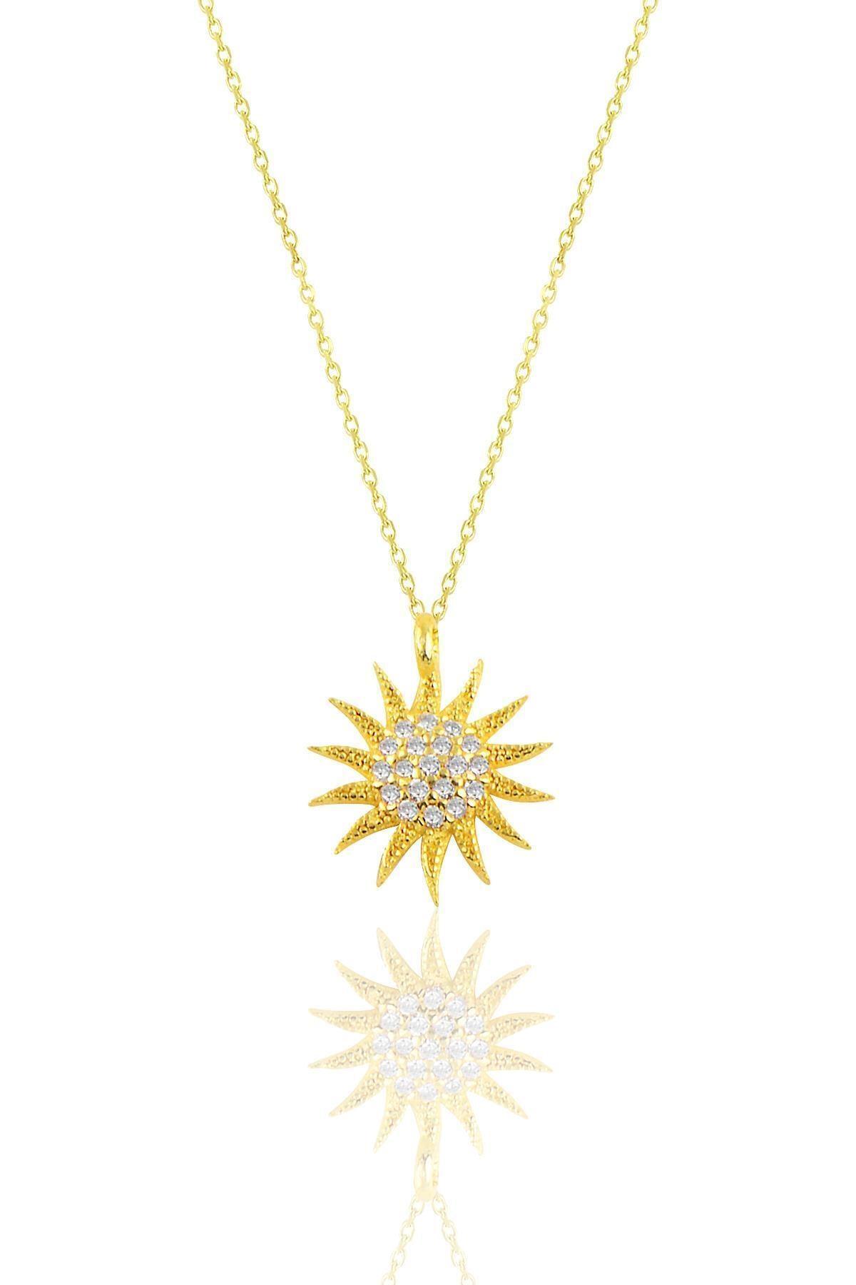 Söğütlü Silver Gümüş Altın Yaldızlı Gümüş Güneş Kolye 1
