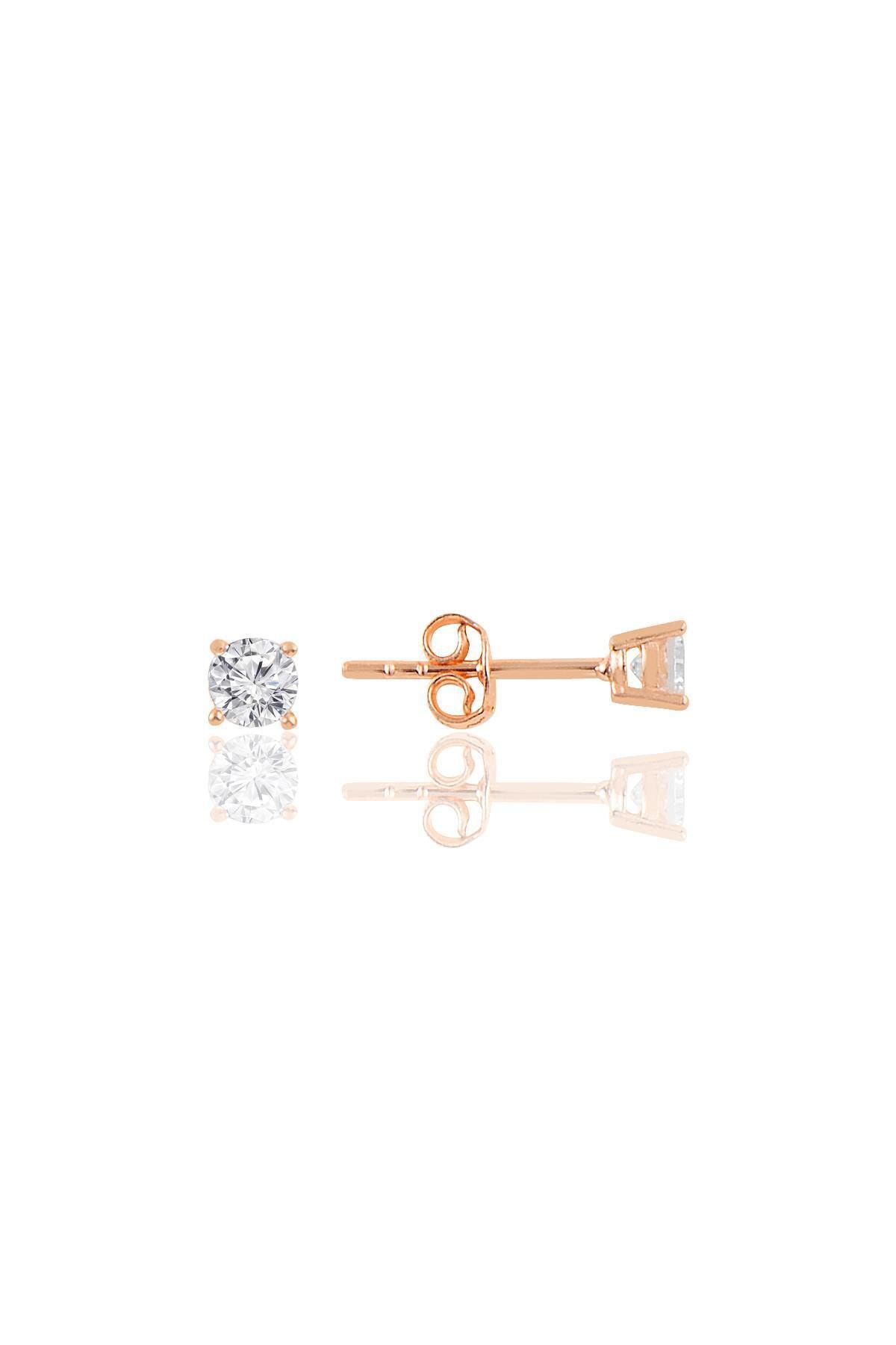Söğütlü Silver Gümüş Rose Gümüş Tek Taş Küpe 1