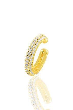 Söğütlü Silver Gümüş Altın Yaldızlı Zirkon Taşlı Kıkırdak Küpe