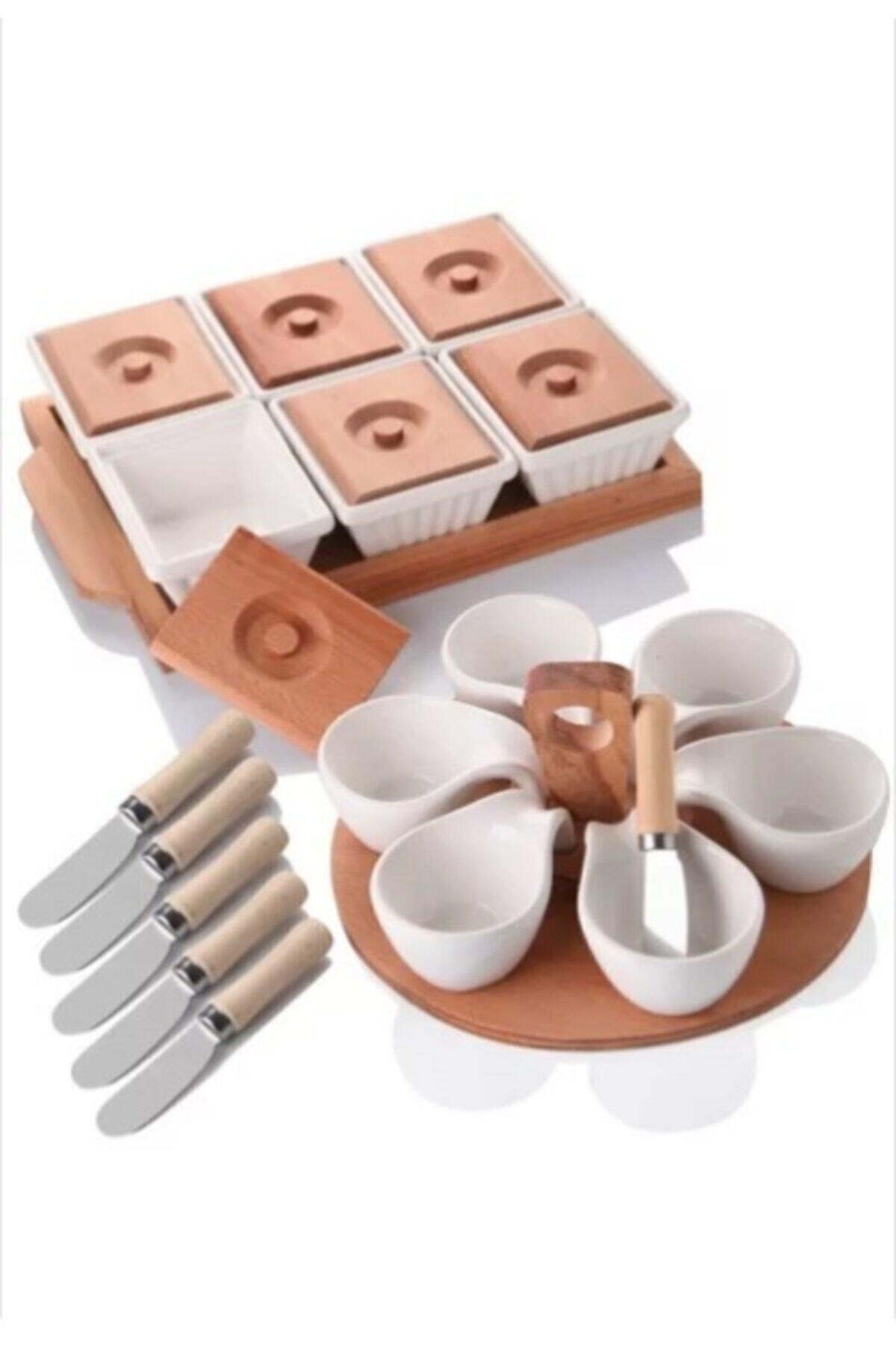 Bambu Corelle Kitchen Ahşaplı Lüx Kahvaltı Sunum Seti 1