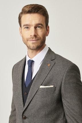 ALTINYILDIZ CLASSICS Erkek Lacivert-Kahverengi Slim Fit Kombinli Yelekli Desenli Takım Elbise