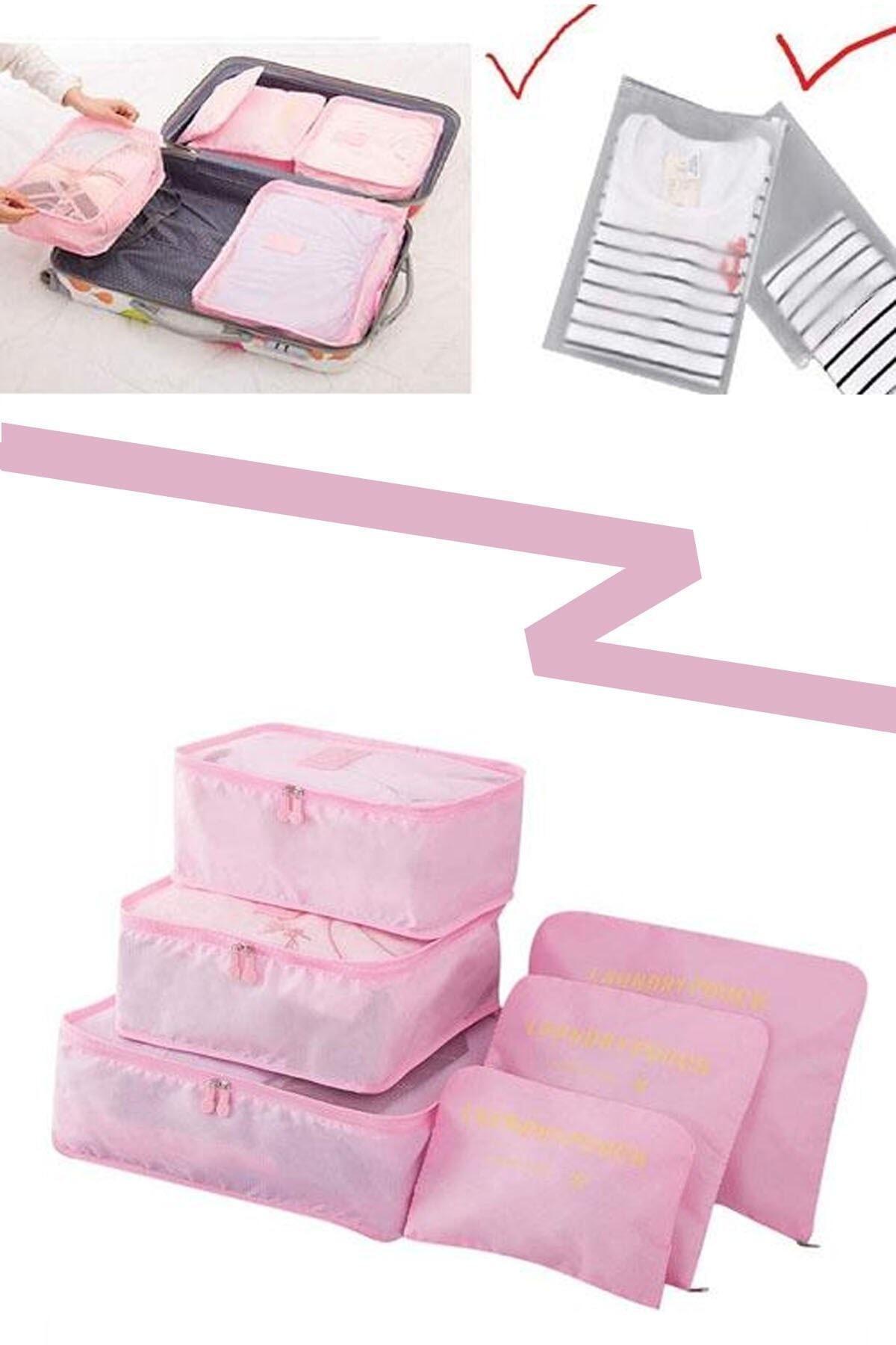 renn Bavul Içi Düzenleyici Organizer 6 Lı Set - Pembe 1