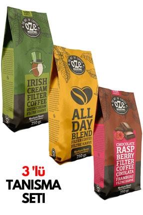 Oze 3' Lü Filtre Kahve Tanışma Seti 250gr X 3 Irish Cream / All Day Blend / Frambuaz & Çikolata Aromalı