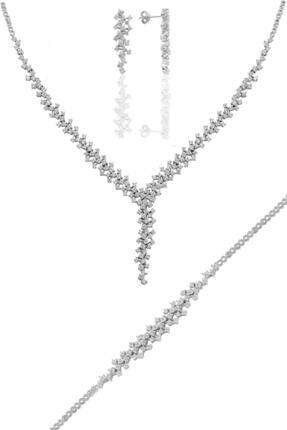 Söğütlü Silver Gümüş Rodyumlu Pırlanta Modeli Su Yolu Gümüş Takım.