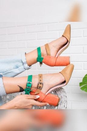 Limoya Mallory Kum Portakal Yeşil Süet Çift Tokalı Kalın Topuklu