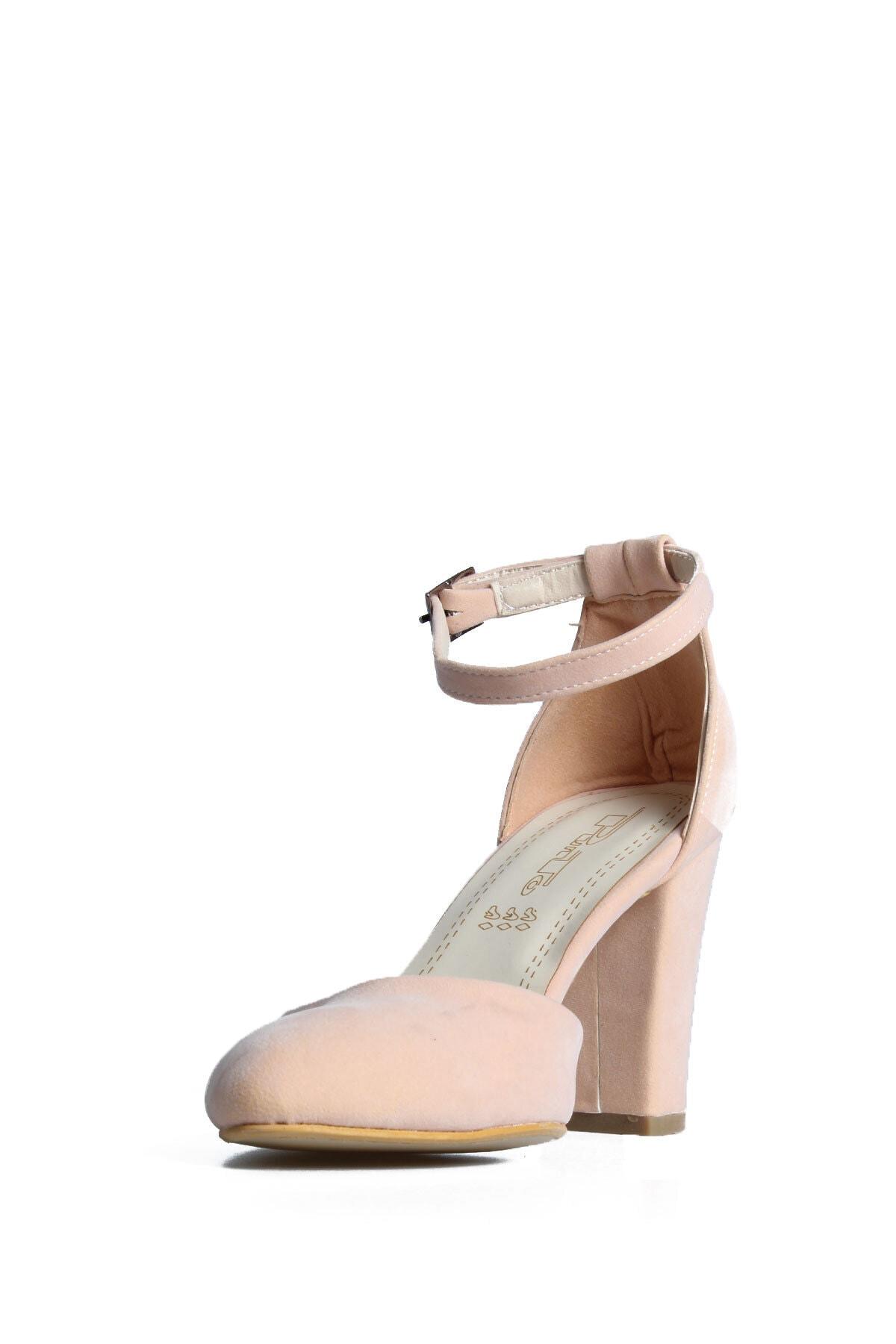 PUNTO Kadın Pembe Süet Topuklu Ayakkabı 2