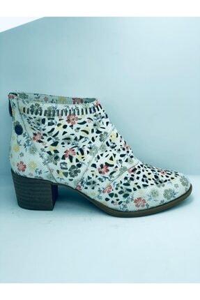 Mammamia Mammamıa Çiçekli Topuklu Beyaz Kadın Ayakkabı