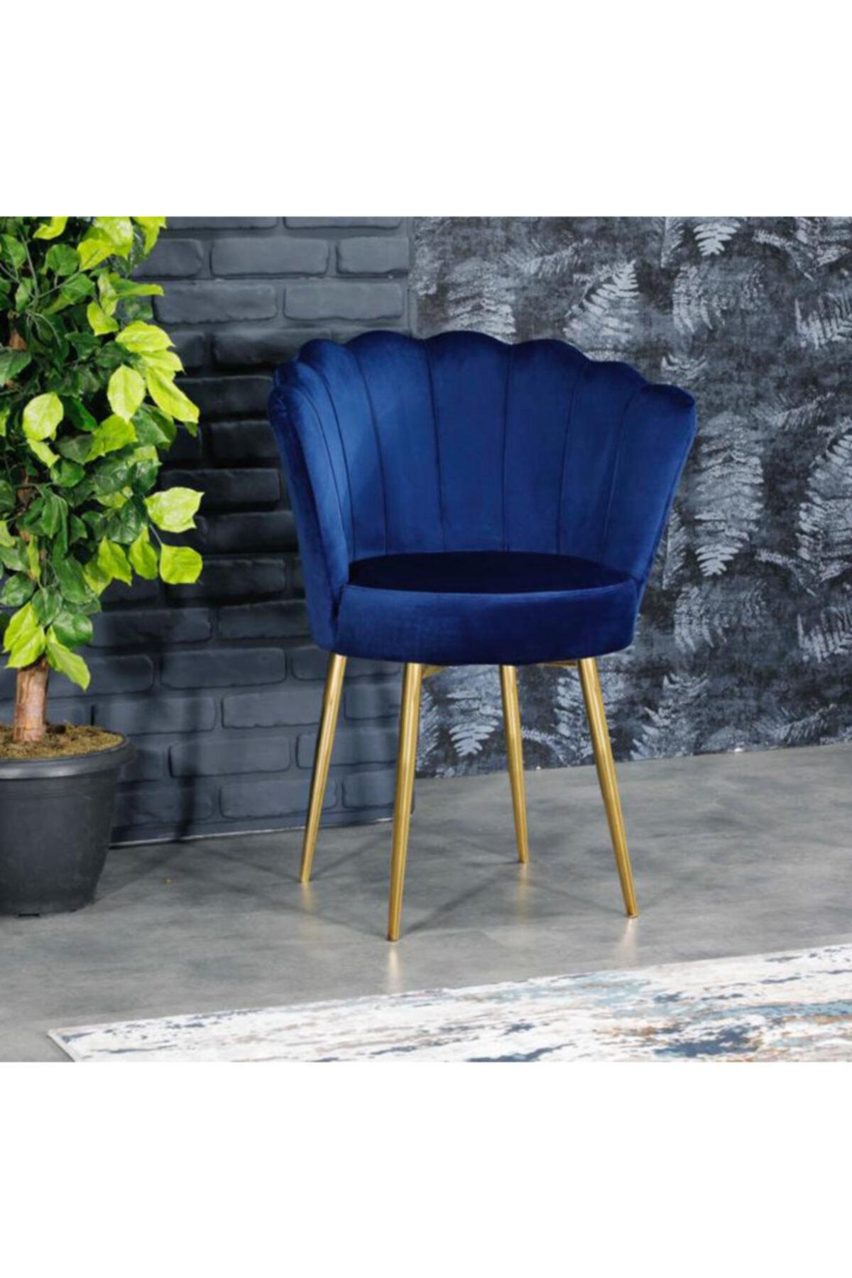 AYSU Sandalye Papatya Tekli Berjer Mavi Altın Ayak 1