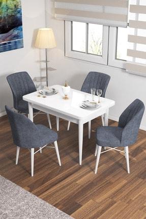 rovena Lera Serisi Beyaz Sabit Masa Takımı 4 Adet Füme Sandalye