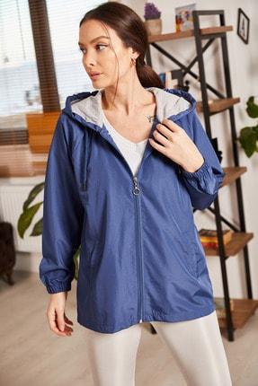 armonika Kadın Lacivert Kapüşonlu Önü Fermuarlı Cepli Astarlı Yağmurluk ARM-21K083005
