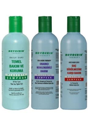 Novocrin Placenta Saç Bakım Şampuan Seti 3 Lü Paket