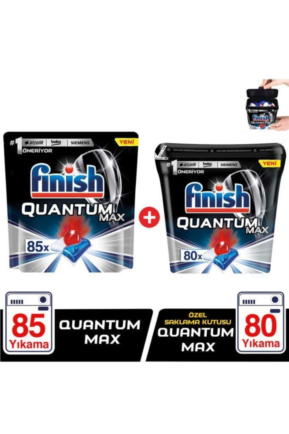 Finish Quantum Max 85 Kapsül+özel Saklama Kutusunda Quantum Max 80 Kapsül Bulaşık Makinesi Deterjanı 1