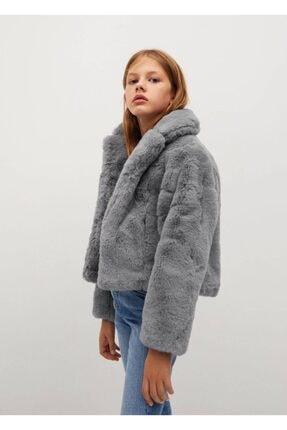MANGO Kids Kız Çocuk Gri Palto