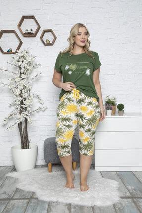 MyBen Büyük Beden Kapri Pijama Takımı Yeşil Renkli Baskılı Kısa Kollu Battal Pijama Takımı 50043