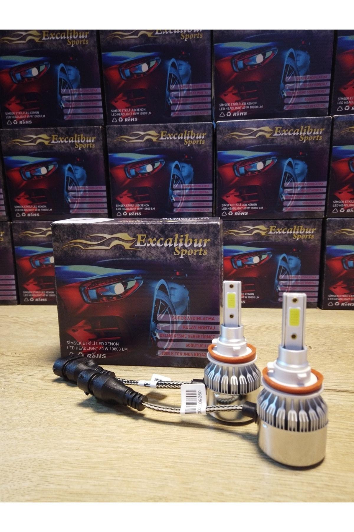 Excalibur H4 Led Xenon Far Ampulü Yeni Nesil Şimşek Etkili Soğutma Fanlı 60w 10800lm 1