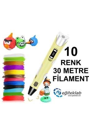 3D Sarı Kalem Yazıcı+10 Renk 30 Metre (10x3metre) Pla Filament