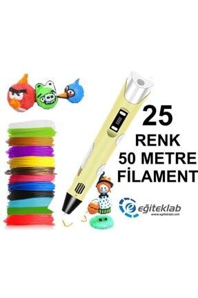 3D Sarı Kalem Yazıcı+25 Renk 50 Metre (25x2metre) Pla Filament