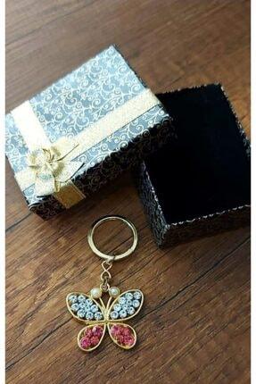 Sağlam Kelebek Figürlü Taş Işlemeli Anahtarlık Kutu Hediyeli