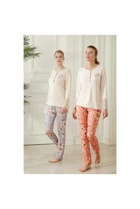 Feyza Pijama Kadın Lila 3 Düğmeli Battal Beden Çiçekli Pijama Takımı 3486