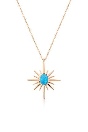 Papatya Silver Kadın 925 Ayar Rose Altın Kaplama Opal Taşlı Gümüş Kutup Yıldızı Kolye