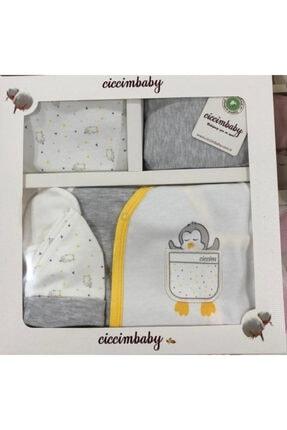 Ciccim Baby Unisex Bebek Gri 5'li Hastane Çıkış Seti Penguen Model