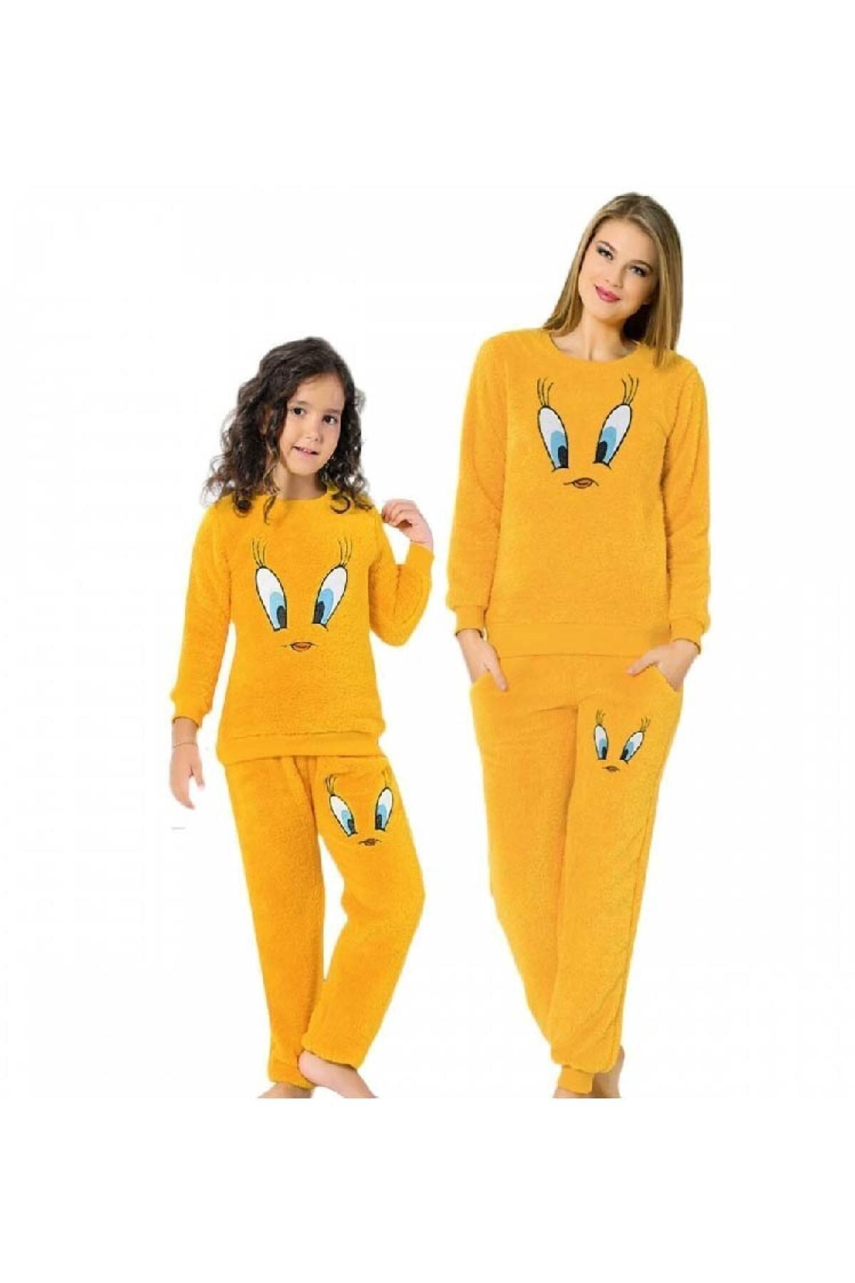 Justin Beauty Tweety Peluş Anne Kız Polar Pijama Takımı 1