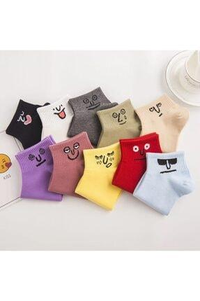 BGK Unisex Renkli Yüz Desenli Patik Çorap 10'lu
