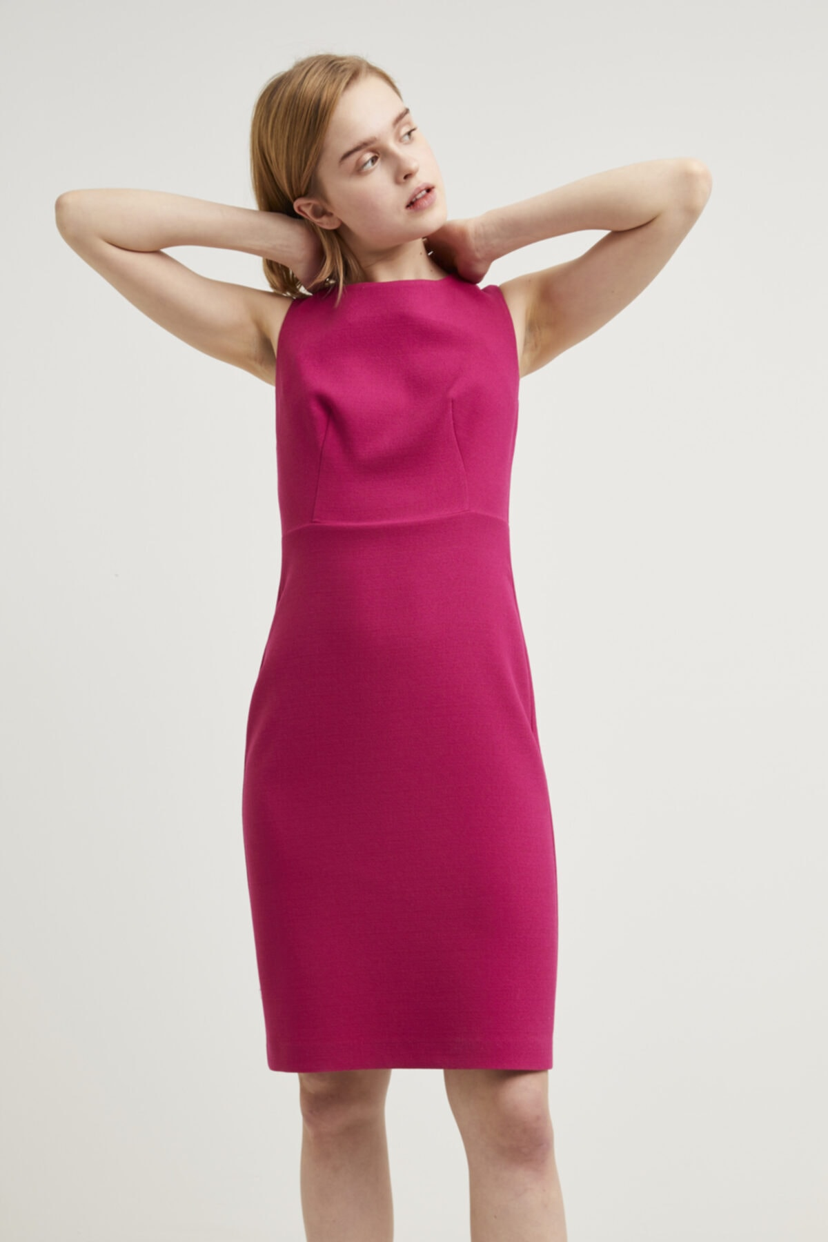adL Kadın Fusya Sıfır Kollu Elbise 1