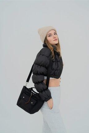 Shule Bags Kabartmalı Puf Kumaş Çapraz Çanta Palermo Siyah