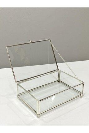 irayhomedecor Gümüş Cam Takı Kutusu