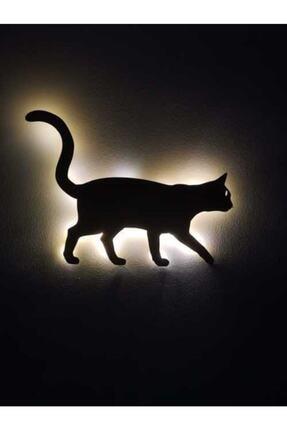 FEEL ME Led'li Kedi Ahşap Tablo Duvar Süsü Işıklı Gece Lambası