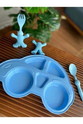 Bayev Çocuk Yemek Seti - Mama Tabağı Çatal Kaşık Takımı Mavi