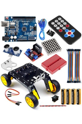 Arduino Uno 4wd Rover Araba Seti - Robotik Kodlama Başlangıç Paketi