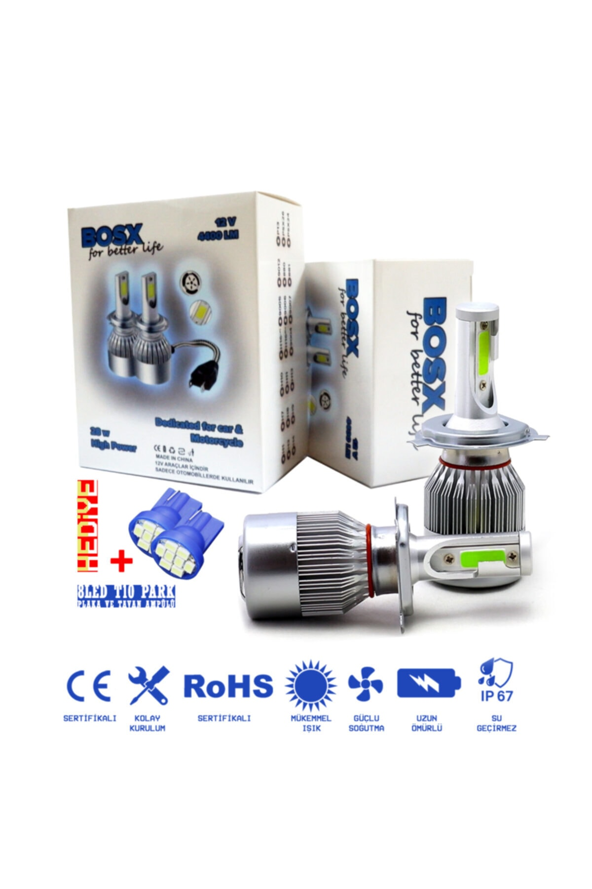 C9 Bosx Iceblue Buz Mavi Led Xenon Far Ampulü 4400lm H27 1