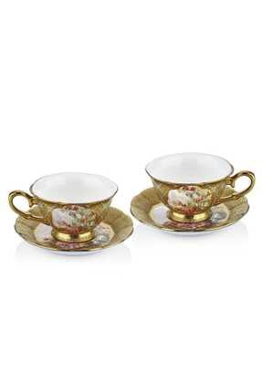 Cemile Renkli Çiçekli 4 Parça Çay Seti