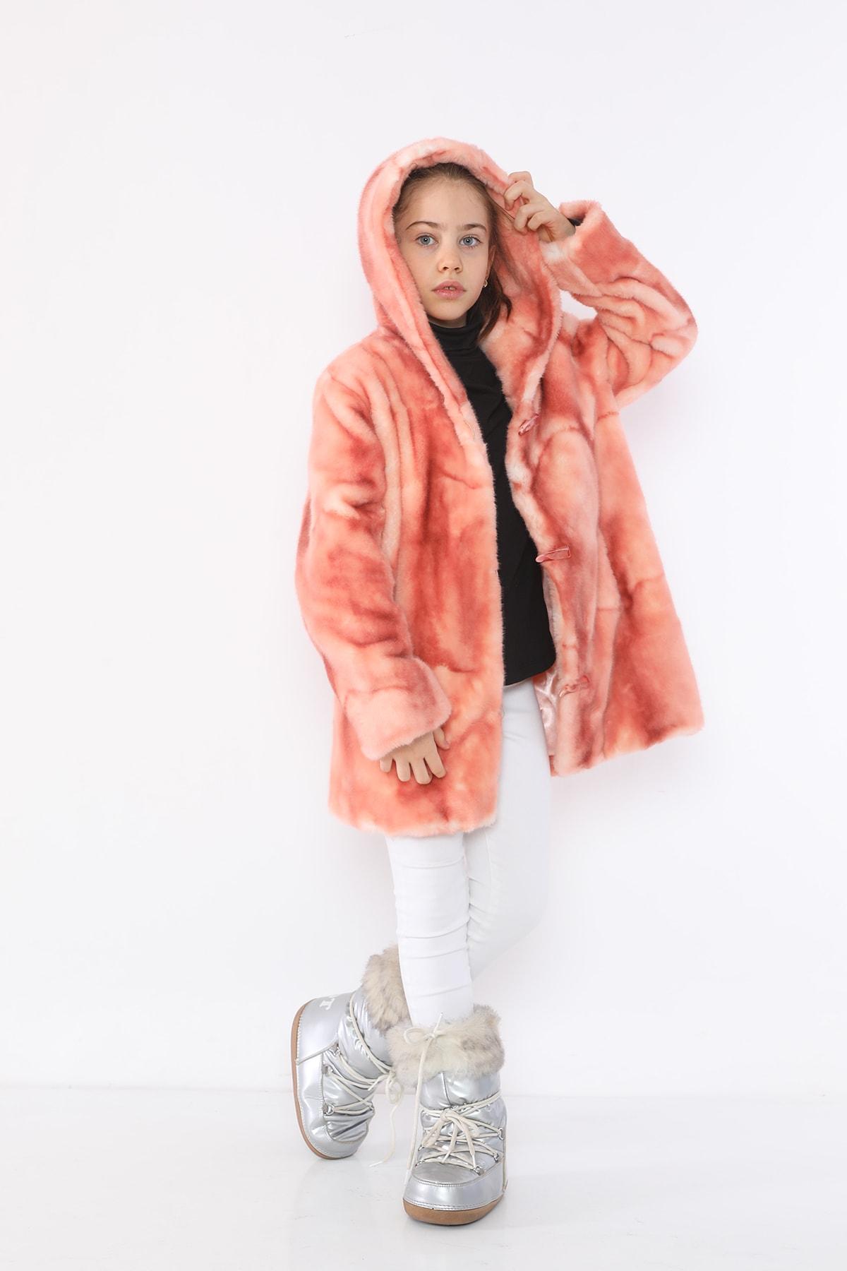 LUCKY LİFE Kız Çocuk Pembe Kürk Mont 2