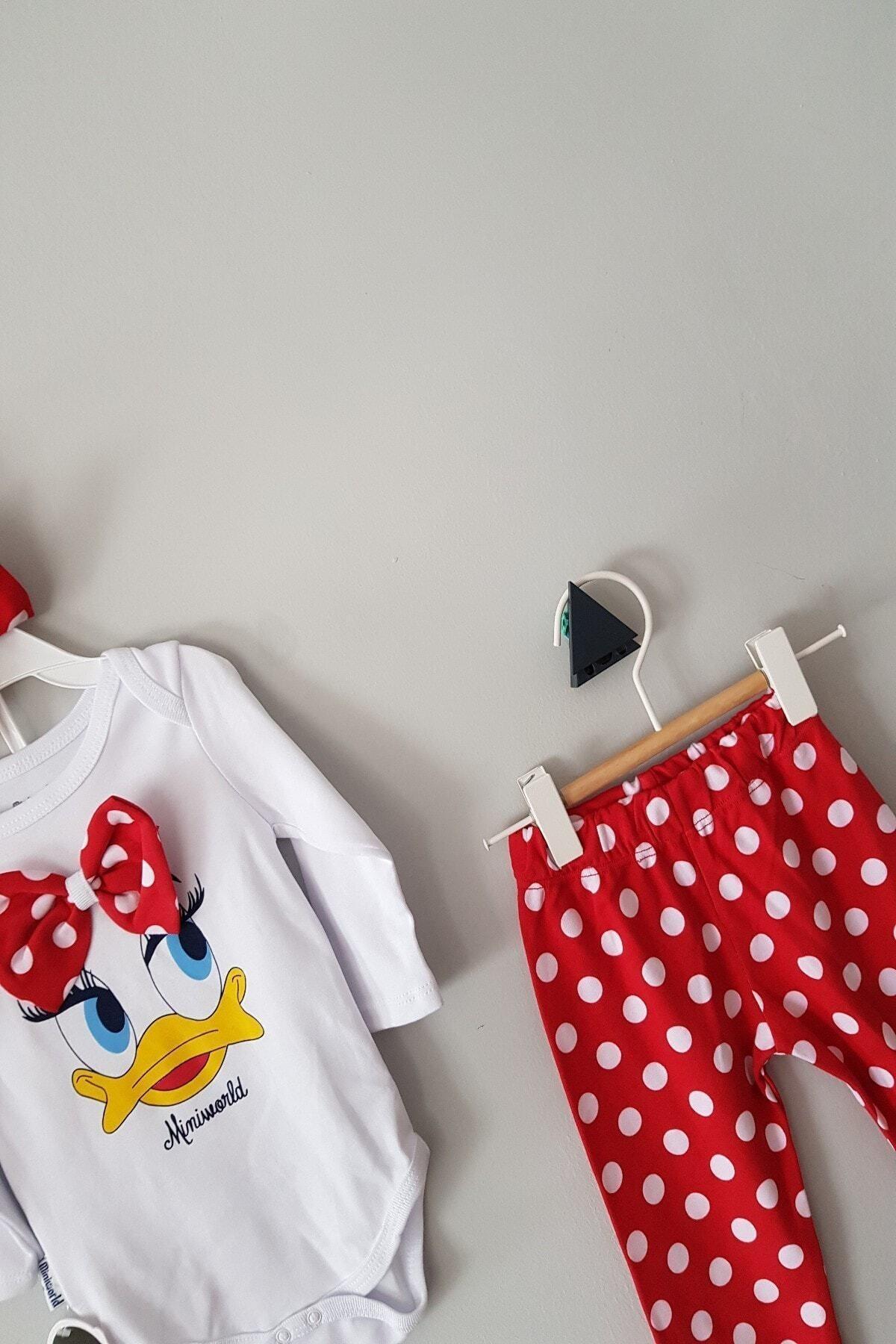 Miniworld Kız Bebek Kırmızı 6-12 Ay Fiyonklu Ördekli Üçlü Takım 2
