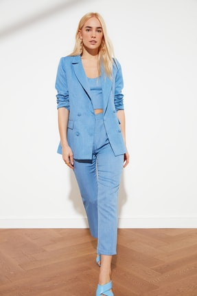 TRENDYOLMİLLA Mavi Pileli Bilek Boy Pantolon TWOSS21PL0076