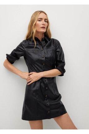MANGO Woman Suni Deri Gömlek Elbise
